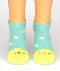 türkise Socken Sneaker mit gelben Küken - Tiersocken