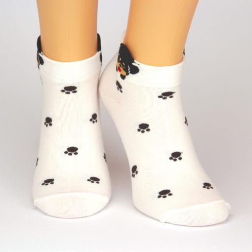 weiße Sneaker Socken mit Hundestapfen und Tiermotiv