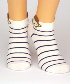 Sneaker Socken weiß blau gestreift mit Affenmotiv