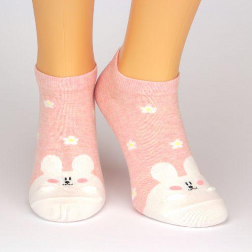 rosa Sneaker Socken mit weißem Hasen - Charaktersocken