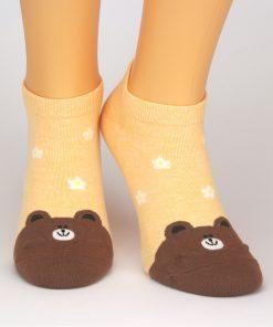 orangene Sneaker Socken mit Bär