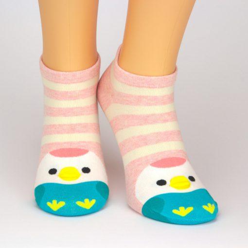 Sneaker Socken mit rot beigen Streifen und Kükenmotiv an den Zehen