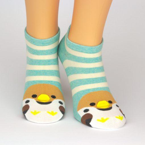beige grün gestreifte Sneaker Socken mit Tiermotiv