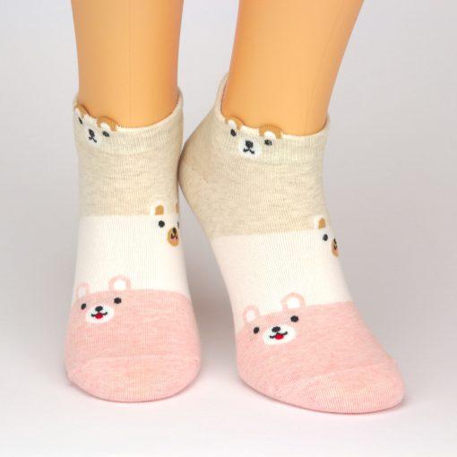 Sneaker Socken in beige weiß und rot mit Hunde-Motiv
