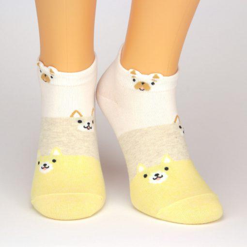 Sneaker Socken in weiß beige und gelb mit Füchsemotiv