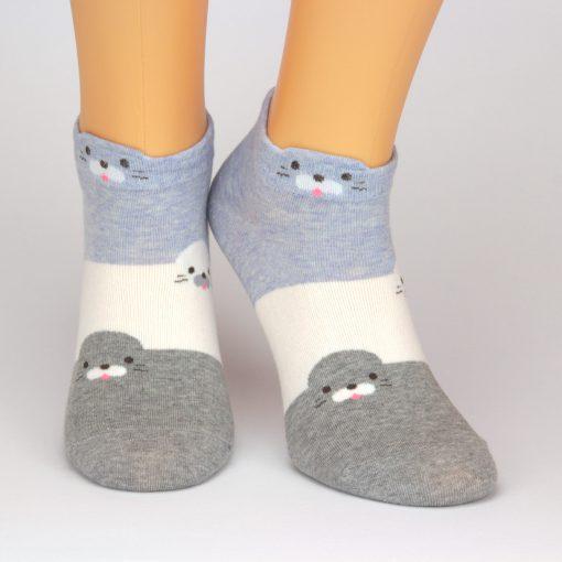 Socken Sneaker in blau weiß und grau mit Seelöwen-Motiv