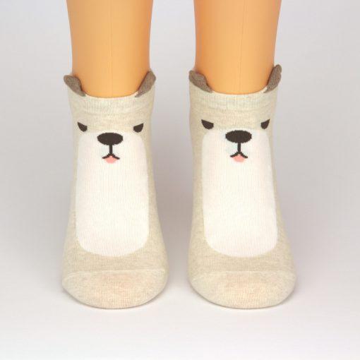 beige weiße Sneaker Socken mit 3D Ohren