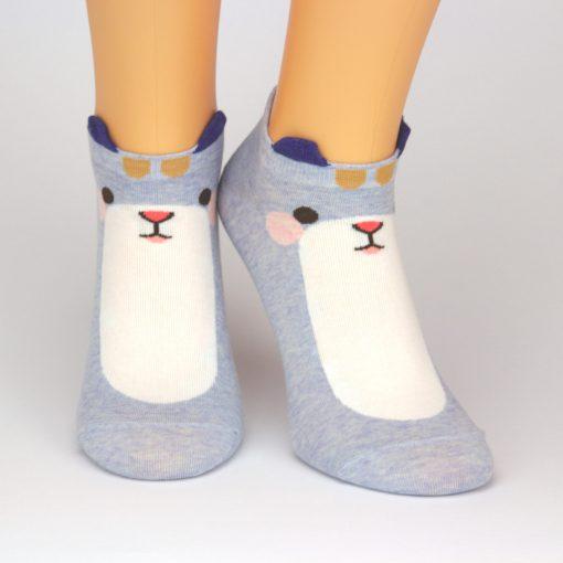 blaue Sneaker Socken mit 3D Ohren und Motiv