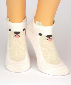 weiße Sneaker-Socken mit niedlichem Hundemotiv - Charaktersocken