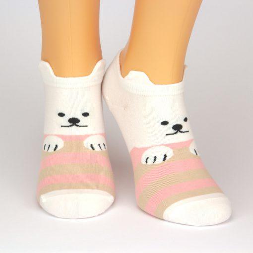 Sneaker Socken weiß mit Ohren und Hunde-Motiv