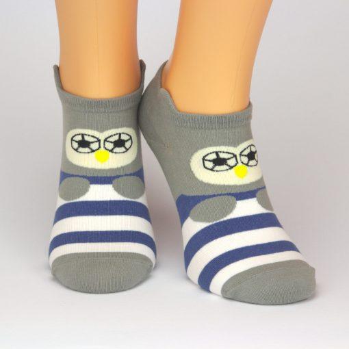 graue Socken Sneaker mit Charakter Motiv