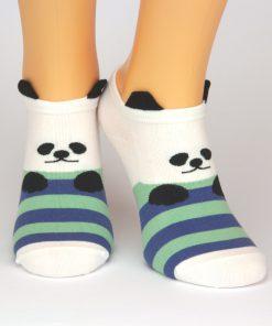 Sneaker mit Pandabären weiß mit blau grünen Streifen