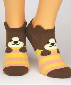 braune Sneaker-Socken mit Bärenmotiv
