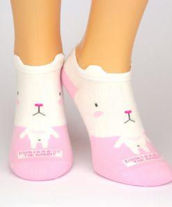 Sneaker Socken pink mit weißem Hasenmotiv