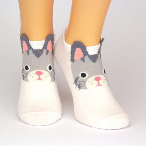 Sneaker Socken weiß mit niedlicher grauer Katze - Tiersocken