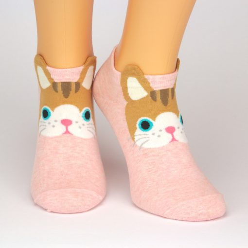 rote Socken-Sneaker mit brauner Katze - Charaktersocken