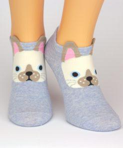 blaue Sneaker Socken mit weißer Katze und 3D Ohren