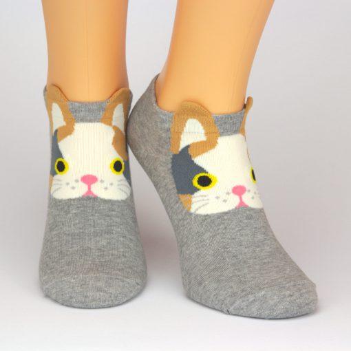 Sneaker grau mit Katzenmotiv