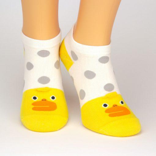 weiße Sneaker Socken mit gelben Küken-Motiv