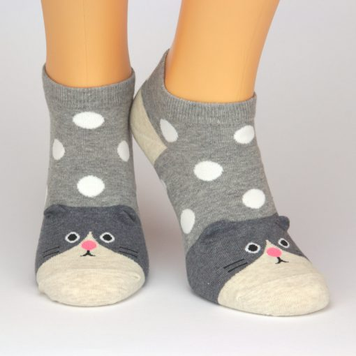 Sneaker Socken in grau mit Hundemotiv