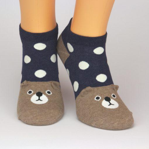 Sneaker Socken blau mit Hund-Motiv braun