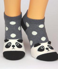 graue Socken Sneaker mit Panda-Tiermotiv und Punkten