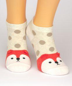 Beige Socken Sneaker mit Tiermotiv Fuchs in rot