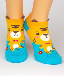 blaue Socken Sneaker mit gelbem Tiger - Charaktersocken