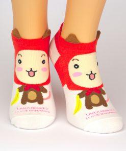 weiße Sneaker Socken mit rotem Affenmotiv