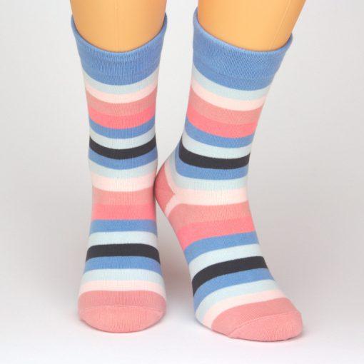 Charaktoes Socken lang mit strahlenden Streifen pink blau schwarz