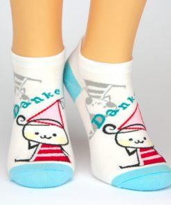 Socken Sneaker in weiß mit blauen Zehen und roter Figur