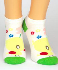 Sneaker Socken in weiß und grün mit gelben Küken Tiermotiv