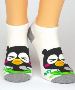 Socken Sneaker in weiß mit schwarzem Vogel Motiv