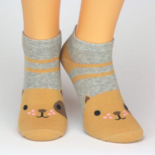 Socken Sneaker in grau mit braunem Hund Tiermotiv von Charaktoes