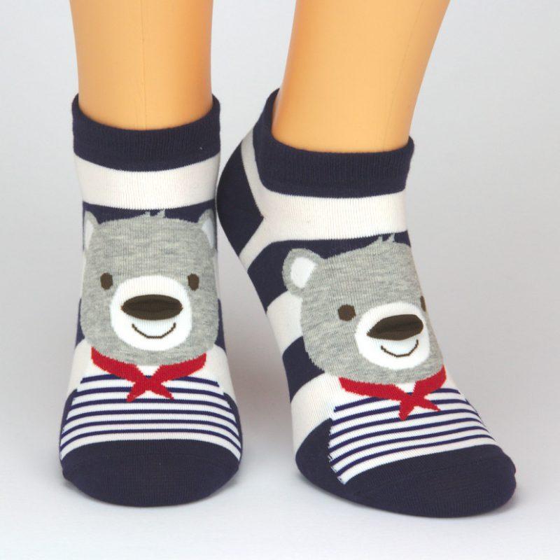 Socken Sneaker mit einem Koala Tiermotiv - blau weiß gestreift
