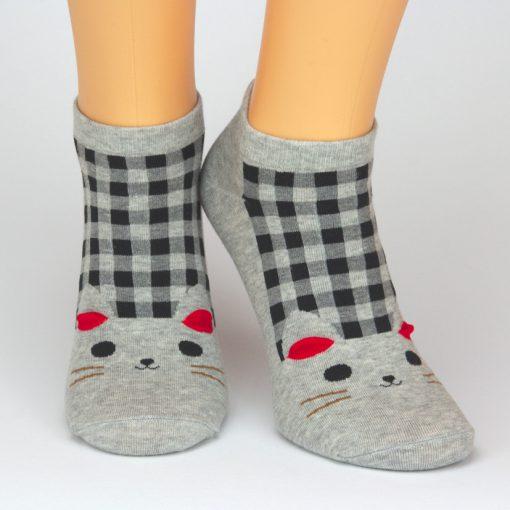 Sneaker Socken in grau mit schwarzen Karos und Katzenmotiv