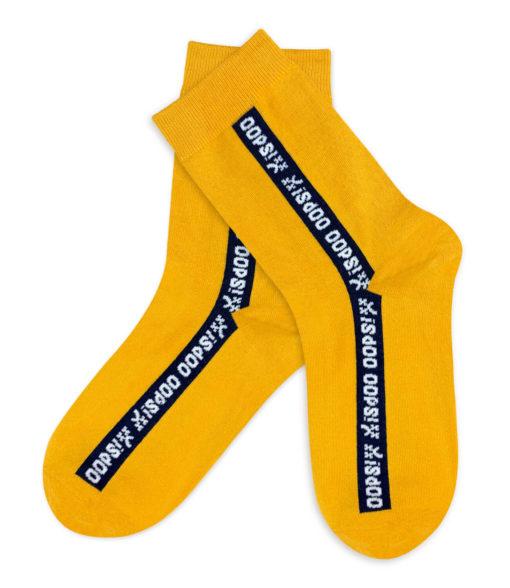 Socken gelb mit Schriftzug