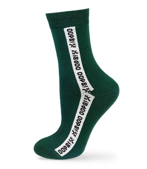 Socken in grün mit Schriftzug