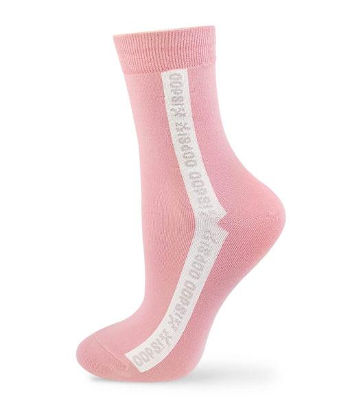 pinke Socken mit Oops Beschriftung
