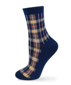 marine blaue Socken kariert