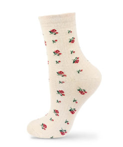 Socken elfenbeinfarben mit Rosen