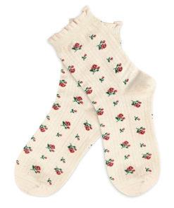 Socken mit Rosen - elfenbeinfarben