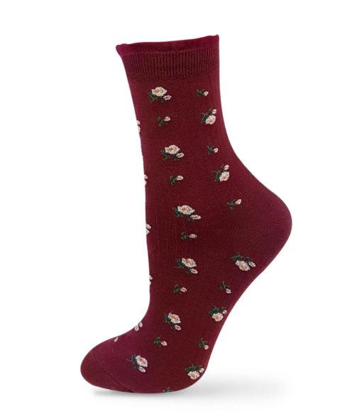 rote Socken mit Rosen