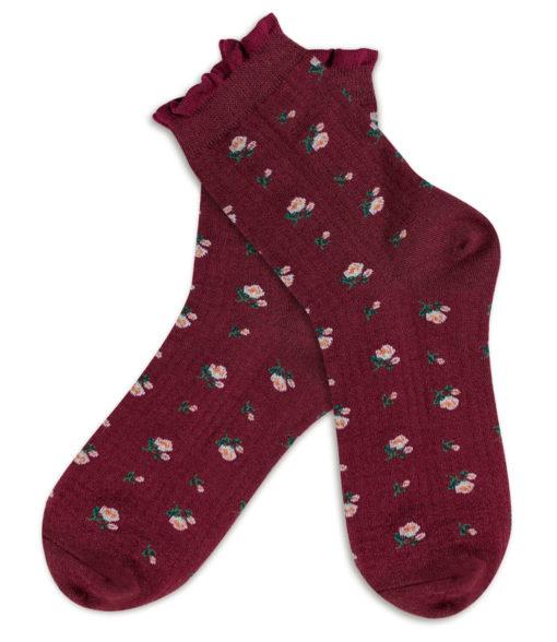 Socken weinrot mit Rosen