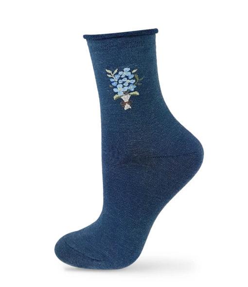 Socken marineblau mit Blumenmotiv