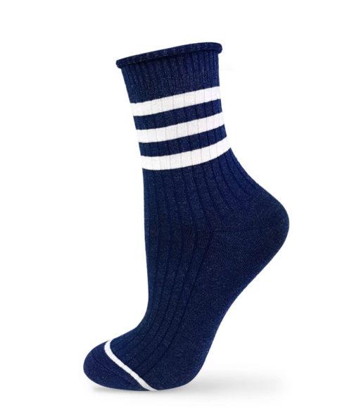 Socken marinblau mit 3 weißen Streifen