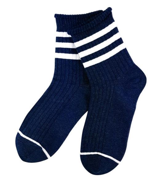 Blaue Socken mit Streifen