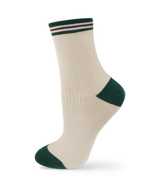 Socken elfenbeinfarben mit grüner Ferse