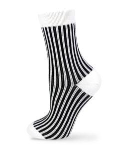 Jacquard Socken gestreift weiß