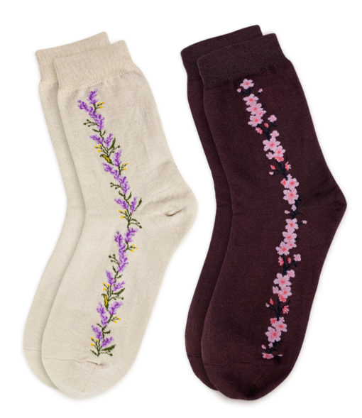 Socken Set beige braun mit Blumenstreifen